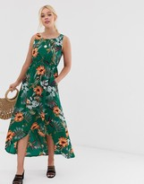 Qed London QED London high low midi dress in tropical floral print