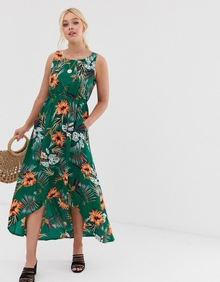 QED London high low midi dress in tropical floral print