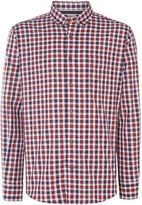 T.M.Lewin Men's Shadow Check Slim Fit Long Sleeve Button Down Shi