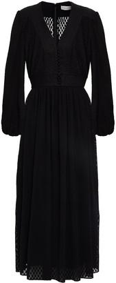 Zimmermann Linen-trimmed Plisse-fil Coupe Midi Dress