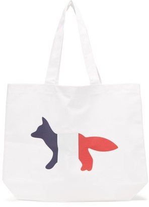 MAISON KITSUNÉ Tricolour Fox-print Canvas Tote Bag - White