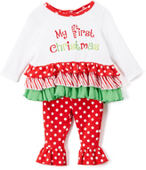 "Baby Essentials ""Red """"My First Christmas"""" Ruffle Tunic & Leggings - Infant"""