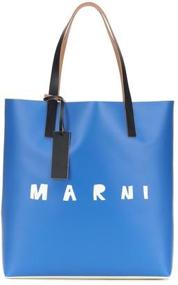 Marni Leather-trimmed coated PVC shopper