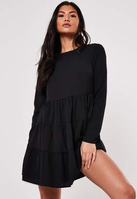 Missguided Black Tiered Long Sleeve Smock Dress