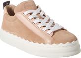Chloé Lauren Scalloped Suede & Leather Sneaker