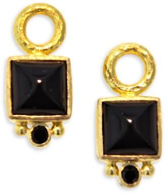Elizabeth Locke 19K Yellow Gold, Onyx & Black Spinel Earring Pendants