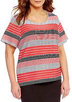 Calvin Klein Plus Crew Neck Short Sleeve Textured Stripe Knit Top