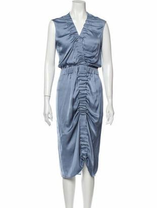 Zero Maria Cornejo V-Neck Midi Length Dress Blue