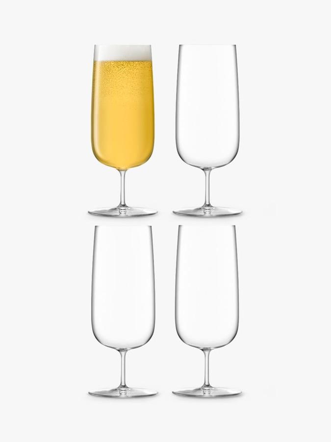LSA International Borough Pilsner Beer Glasses, Set of 4, 440ml, Clear
