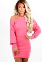 Pink Boutique Sofia Pink Off the Shoulder Jersey Mini Dress