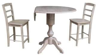 Alcott Hill Aquin Round Top Drop Leaf Pedestal 3 Piece Adjustable Pub Table Set Alcott Hill Color: Washed Gray Taupe