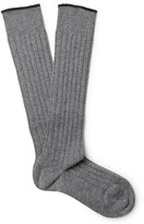 Brunello Cucinelli - Contrast-tipped Ribbed Cashmere Over-the-calf Socks