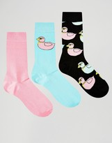 Asos Socks With Rubber Duck Design 3 Pack