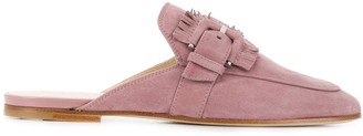 Tod's Fringed-Buckle Backless Loafers