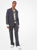 Michael Kors Pick-Stitch Pinstripe Cotton Blazer