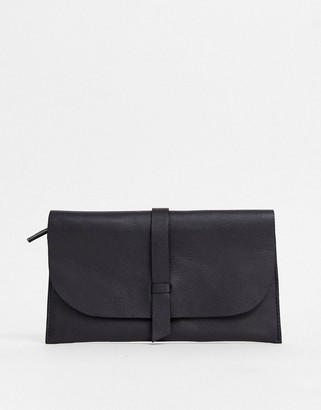 Asos Design DESIGN leather slot through foldover purse-Black