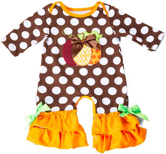 Royal Gem Girls' Rompers Brown - Brown & Orange Polka Dot Pumpkin Ruffle-Trim Playsuit - Newborn & Infant