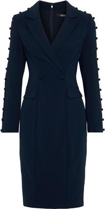 Badgley Mischka Wrap-effect Button-detailed Cady Tuxedo Dress
