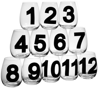 Home Essentials Set Of 12 18Oz Numbered Stemless Wine Goblets