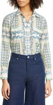 Tory Burch Floral Cotton & Silk Blouse