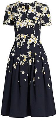 Floral Cloque A-Line Dress