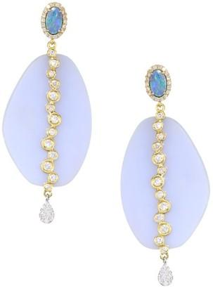 Meira T 14K Gold, Chalcedony, Opal & Diamond Drop Earrings