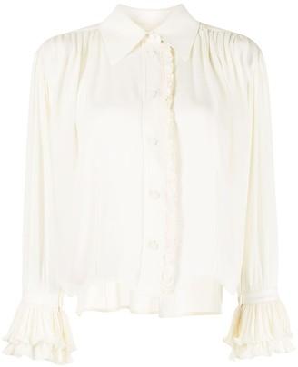 KHAITE Vanina frill-trimmed silk shirt
