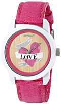 Sprout Women's ST/8001TNPK Swarovski Crystal Accented Love Theme Dial Pink Organic Cotton Strap Watch