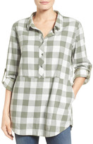 Caslon Plaid Cotton Tunic (Petite)