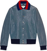 Gucci Leather jacket with embroideries