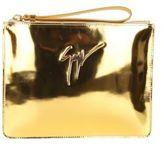 Giuseppe Zanotti Leather Clutch Bag Gold Color