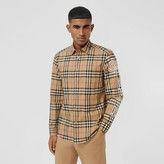 Burberry Logo Print Vintage Check Cotton Poplin Shirt