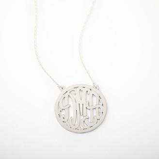 Pottery Barn Teen Monogram Script Circle Border Necklace