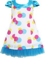 Sunny Fashion FN13 Girls Dress Turn-Down Collar Lace Trim Polka Dot