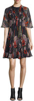 Jason Wu Floral Half-Sleeve Cocktail Dress, Black/Multi