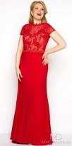 Mac Duggal Rhinestone Beaded Jersey Plus Size Evening Dress