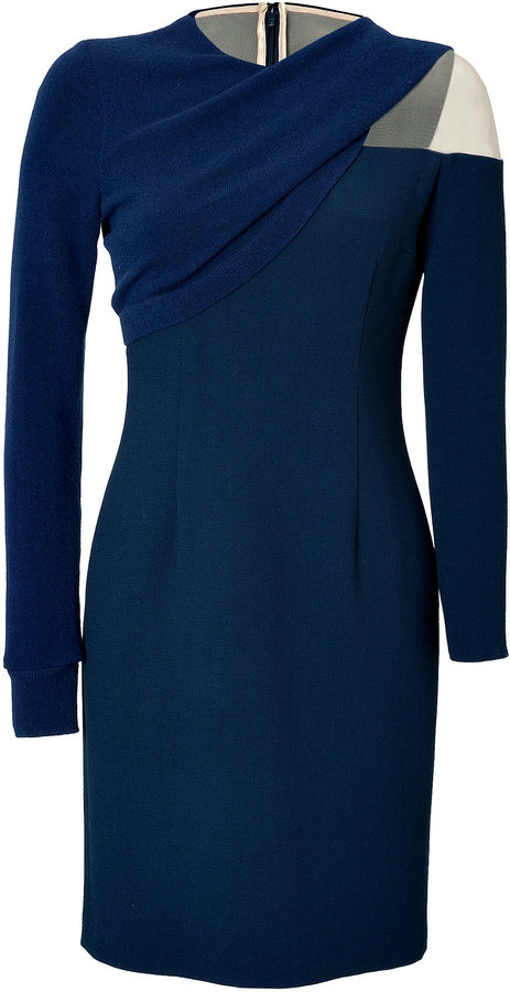 Marios Schwab Knit Crepe Long Sleeve Dress