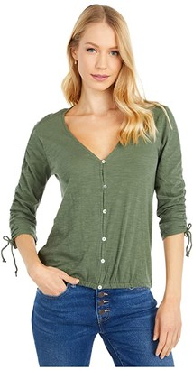 Lucky Brand Printed Ruched Sleeve Top (Thyme) Women's Clothing