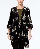 NY Collection Velvet Floral-Print Kimono