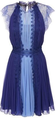 Alberta Ferretti Silk Chiffon Mini Dress W/macrame