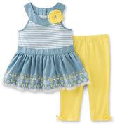 Kids Headquarters Baby Girls Baby Girls Two-Piece Chambray Tunic and Capri Pants Set