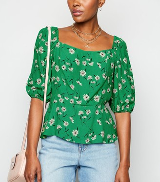 New Look Daisy Puff Sleeve Square Neck Top