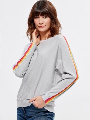 M&Co Rainbow stripe sleeve jumper