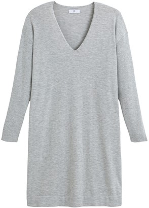 La Redoute Collections Mini Jumper Dress with V-Neck and Long Sleeves