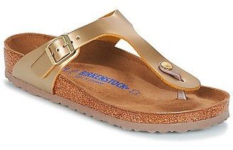 Birkenstock GIZEH SFB women's Flip flops / Sandals (Shoes) in Gold