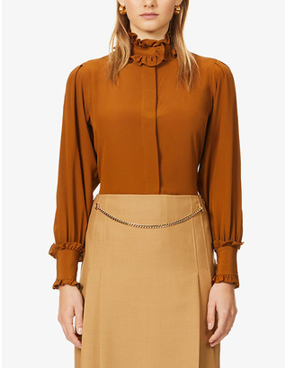 Victoria Beckham Frilled-trim regular-fit silk shirt