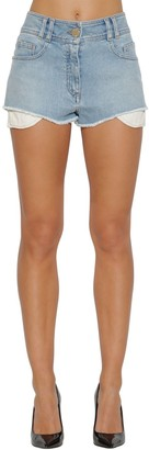 Balmain High Waist Logo Cotton Denim Shorts