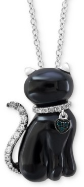 "Effy Onyx (19 x 10mm) & Diamond (1/10 ct. t.w.) 18"" Pendant Necklace in 14k White Gold"
