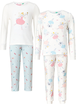 John Lewis Children's Fairy Pyjamas, Pack of 2, Pink/White