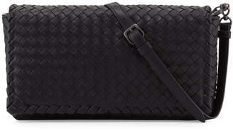 Bottega Veneta Small Intrecciato Flap Clutch Bag w/Strap, Black